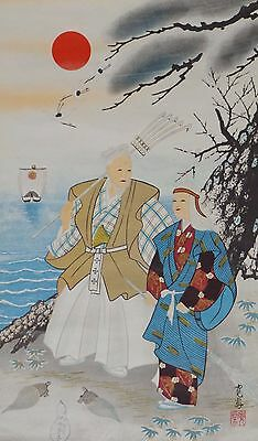 Japanese Hanging Scroll ' Old couple ' 95 X 38 cm Picture Antique W71