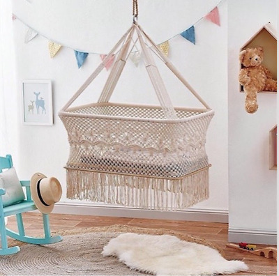 Baby Handmade Macrame/Crocheted Hanging Bassinet/Natural/Fairtrade