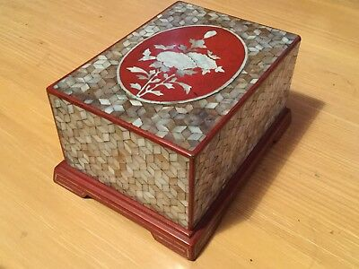Antique Japanese lacquer box mother of pearl  decoration super Quality