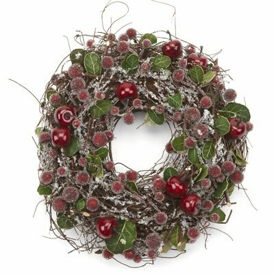23 cm Frosted Red Berry Christmas Wreath Artificial Twigs Berries Garland Table