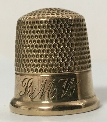 "Ketcham & McDougall - 10K Gold Thimble - Size 9 - Engraved ""R M W"""