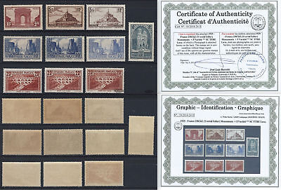 [05] 1929 - France263, 247, 250, 252, 254A VARIATIONS. ** MNH Very Nice. Sights