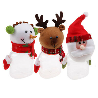 Snowman Christmas Santa Candy Bottle Box Storage Jar Container Xmas Party Gift