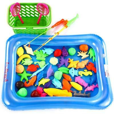 50pcs Magnetic Fishing Game Toy Set 2 Fishing Pole Rod Pool and Inflator For Kid
