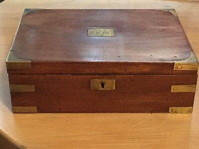 Antique Victorian Wood and Brass bound box no reserve