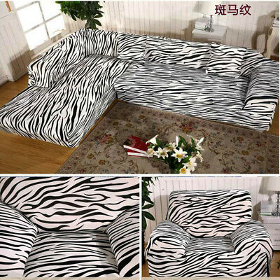 Zebra Pattern Arm Chair Loveseat Sofa Protector Cover Slipcover 1 2 3 4 Seater Cad