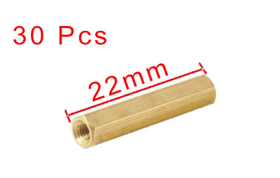 30x of M3 x 22mm Gold Brass Hexagonal Female Nut PCB Board Standoff Spacer