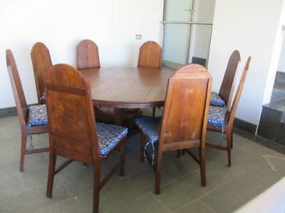 Stunning Large Round Wooden Dining Table & 8 Chairs Rustic Church Pew Style Vgc