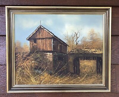 Vintage Landscape Oil Painting Country Farm Old Barn Out Building