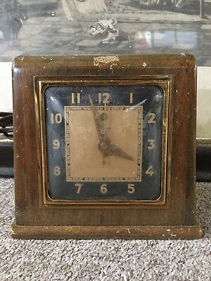 Vintage Telechron Mid Century Wooden Mantle Clock Art Deco