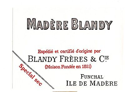 1900 Blandy Freres & Co, Funchal, Maderia, Portugal Madere Blandy Wine Label
