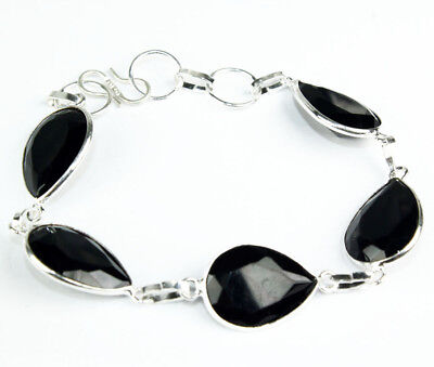925 Sterling Silver Overlay Black Onyx Bracelet Handmade Fashion Jewelry