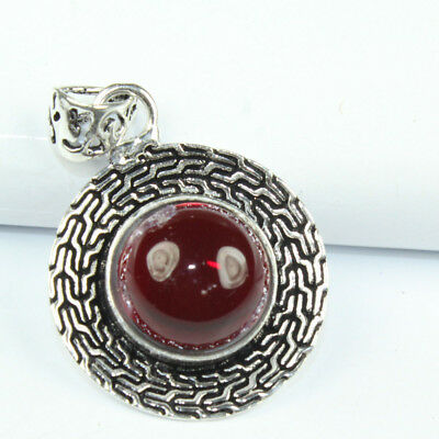 925 Sterling Silver Overlay Garnet Pendant Fashion Jewelry