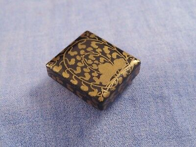 Miniature Antique Meiji Japanese Lacquered Black & Gold Maki-E Trinket Box Case