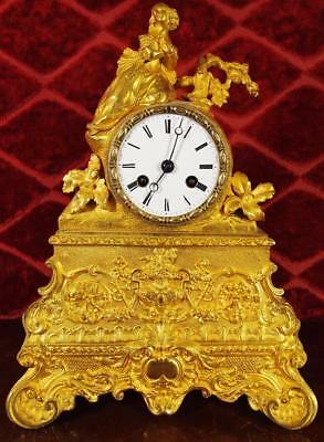 Antique early 1800's French gilt ormolu bronze figural mantle clock by Leroy
