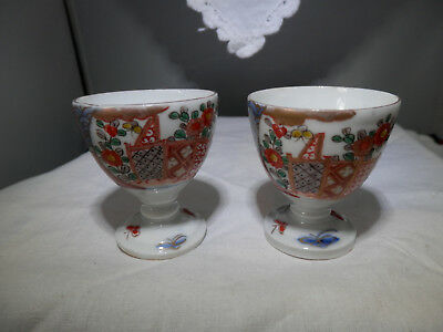 Antique IMARI pair porcelain egg cups, Japanese