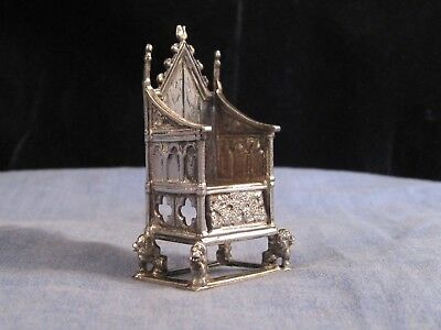 Sterling Silver Antique Edwardian Miniature Coronation Chair Throne Dolls House
