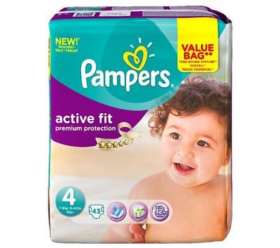PAMPERS - Couches Active Fit Taille 4 maxi (7-18 kg) - Format drugbag x 43 NEUF