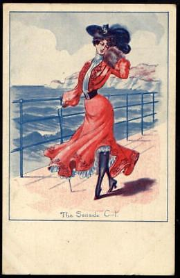 Vintage Art Deco Nouveau Postcard - The Seaside Girl - Woman in Red