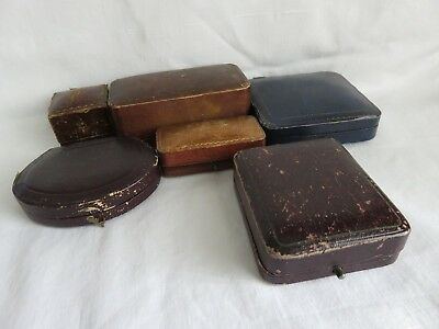 Antique Victorian Edwardian 6 Ring Jewellery Watch Leather Boxes Window Display