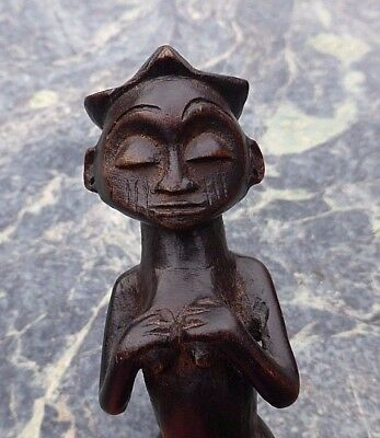 Sweet Small African Tribal Art Carved Wooden Congo Figure Luba Lega Hemba Songye
