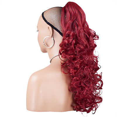 "22"" PONYTAIL Clip in Hair Extensions CURLY Pillar Red REVERSIBLE Claw Clip"