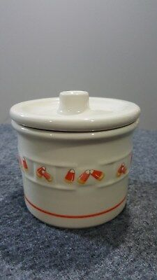 Longaberger One-Pint Retired Candy Corn Crock w Lid Halloween Decor No box