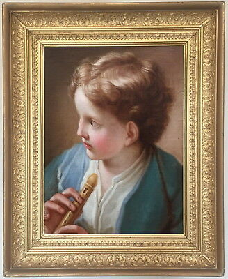 Boy Flute Antique Old Master Oil Painting aft Benedetto Luti (Italian, 1666-1724