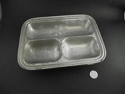 Old 3 Part Divided Mess Dish Pewter Rwp   Wilton Columbia Usa