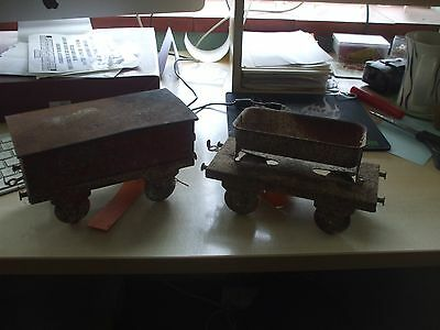 2  wagons. LMS & tipper. Vintage Tinplate Wagons Garden railway?