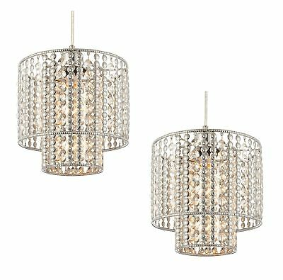 Set of 2 x Clear Glass & Chrome Beads Easy Fit Light Shade Ceiling Chandeliers