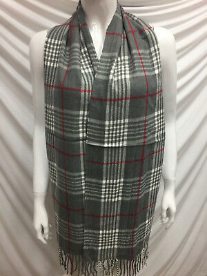 Wholesale 12Pcs 100% Cashmere Scarf Made In Scotland Plaid Lightgray Super Soft