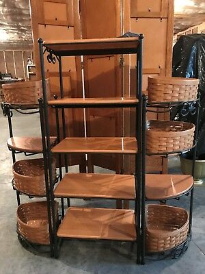 Longaberger Foundry Collection Wrought Iron 5-Level Basket Rack/2 Corner Stands