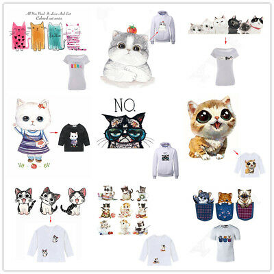 Heat Transfer Cats Iron On Patches For DIY Baby Cloth Decoration Printings