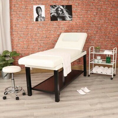 Professional Stationary Wooden White Massage Table Couch Beauty Salon Furniture