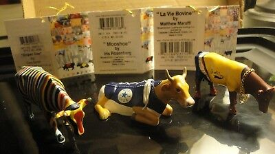 Cow Parade Mini Cow LOT of 3 COW Figurines-Brand NEW w/TAG # Striped+Bovine+Moo+