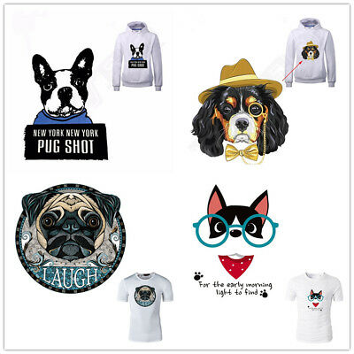 Heat Transfer Bulldog Dogs Patch Iron On Patches Clothes DIY Decoration Printing