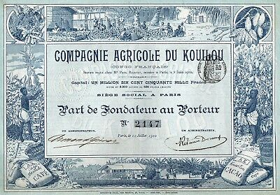 1900 French Congo: Compagnie Agricole du Kouilou - Agriculture company