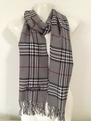 Wholesale 12Pcs 100% Cashmere Scarf Made In Scotland Plaid Gray Super Soft