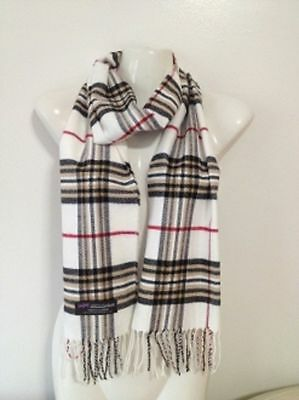 Wholesale 12Pcs 100% Cashmere Scarf Made In Scotland Plaid Ivory Super Soft