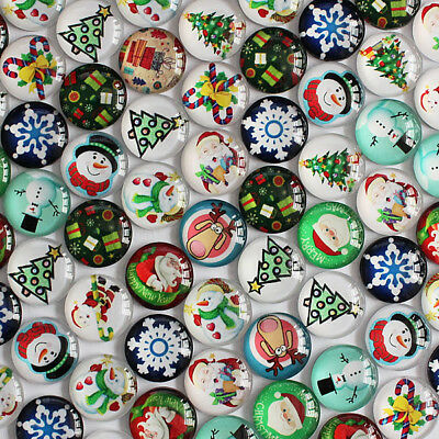 Christmas Themed Handmade Glass Cabochons | Choice of 8 Sizes
