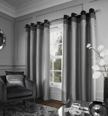 Chicago Eyelet Ring Top Curtains Ready Made Fully Lined Or Cushion Cover