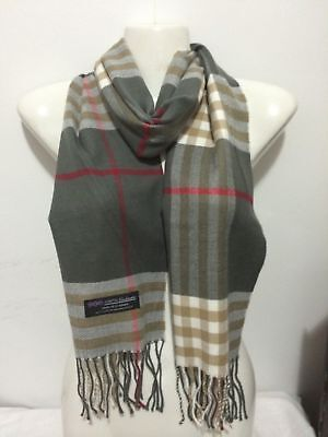 Wholesale 12Pcs 100% Cashmere Scarf Made In Scotland Big Plaid Gray Super Soft