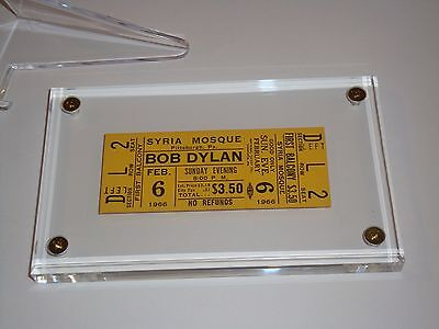 BOB DYLAN 1966 ORIGINAL UNUSED CONCERT TICKET FEBRUARY SYRIA MOSQUE The Band yel