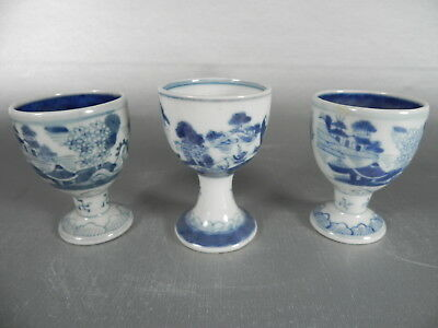 Lot of 3 Antique Chinese Export Canton Blue and White Egg Cup