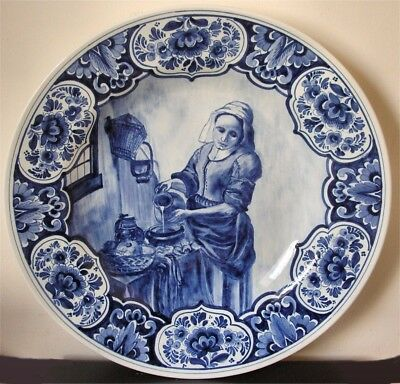 """Large 20th Century Dutch Delft Charger """"DIE KUCHENMAGD"""" after Jan Vermeer"""