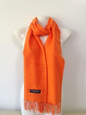 Wholesale 12Pcs 100% Cashmere Scarf Made In Scotland Solid Orange Super Soft