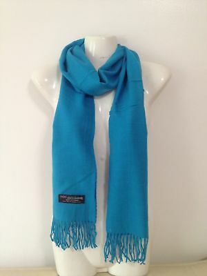 Wholesale 12Pcs 100% Cashmere Scarf Made In Scotland Solid Turquoise Super Soft