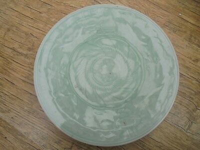 Large Antique Chinese Celadon Plate. Relief Decoration of Lotus Leaves. c1750.