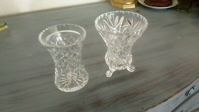 2 x Small 4-4.5 Inches Vintage Decorative Cut Glass Crystal Vases One With Feet